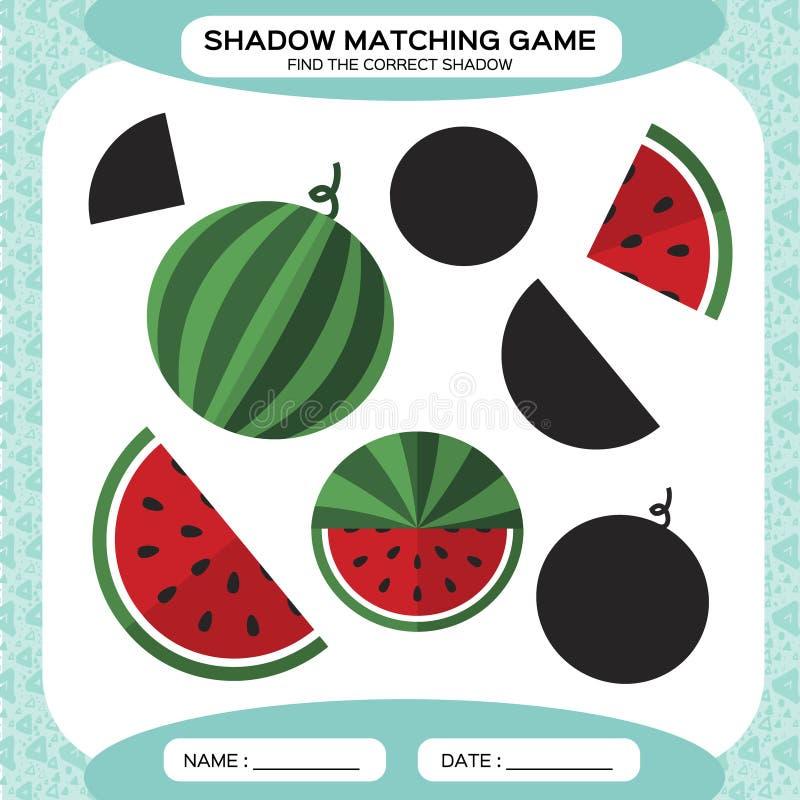 Juego a juego de la sombra Encuentre las sombras correctas Página de la actividad para los niños Hojas de trabajo de la guardería ilustración del vector