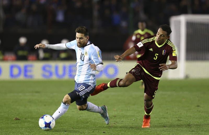 Juego de la velocidad de Lionel Messi foto de archivo