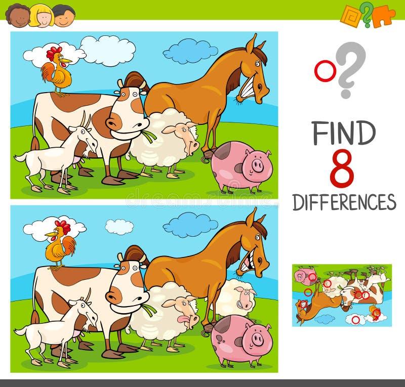 Juego de las diferencias con el grupo de los animales del campo stock de ilustración