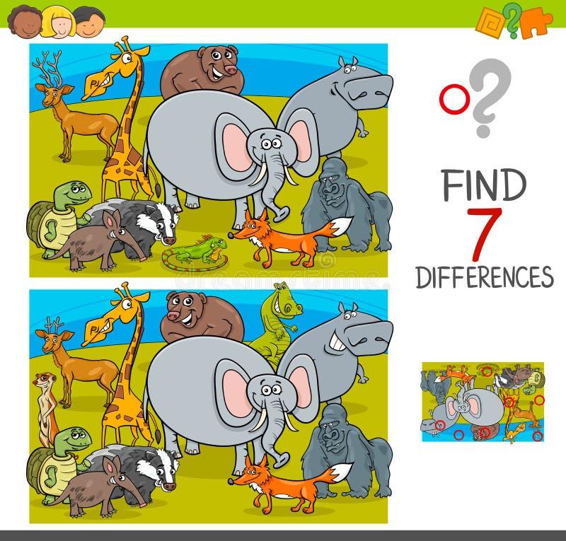 Juego de las diferencias del hallazgo con los caracteres del animal salvaje ilustración del vector