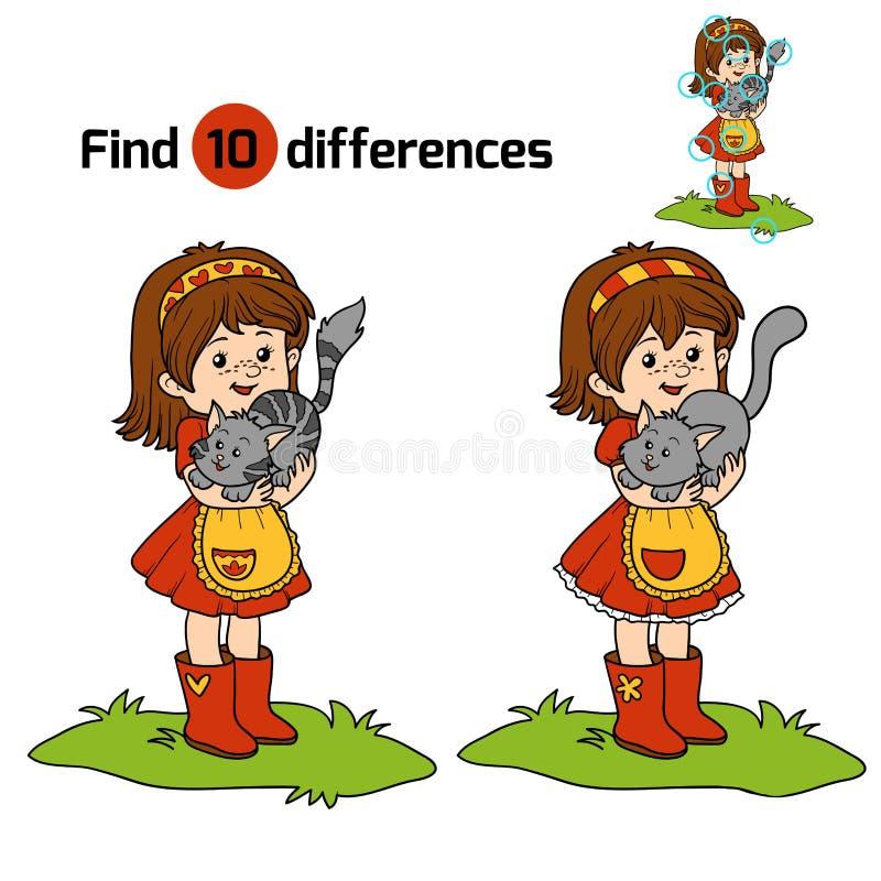 Juego de las diferencias del hallazgo (niña con el gato lindo) ilustración del vector