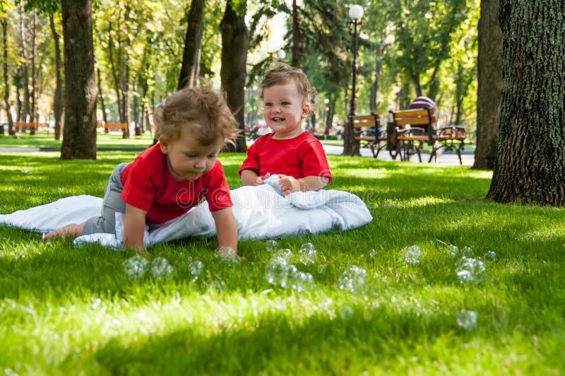 Juego de los gemelos de los niños en la hierba imagen de archivo