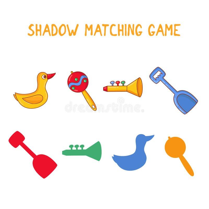 Juego de los niños que hace juego el ejemplo educativo del vector del concurso de las sombras stock de ilustración