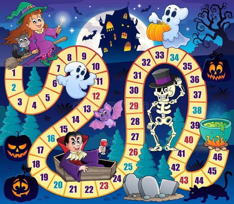 Juego de mesa con el tema 1 de Halloween stock de ilustración