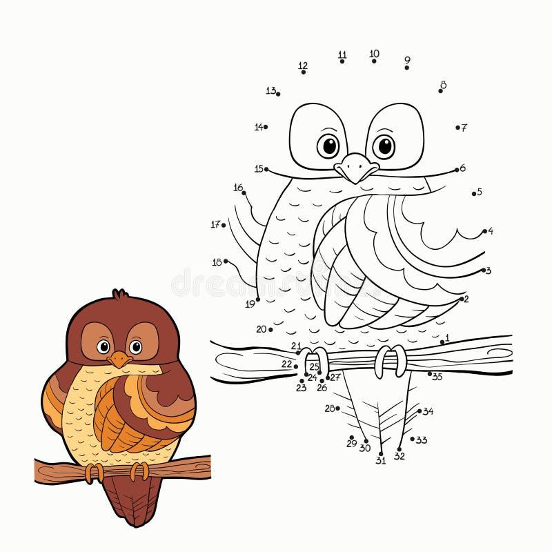 Juego de números (búho) ilustración del vector
