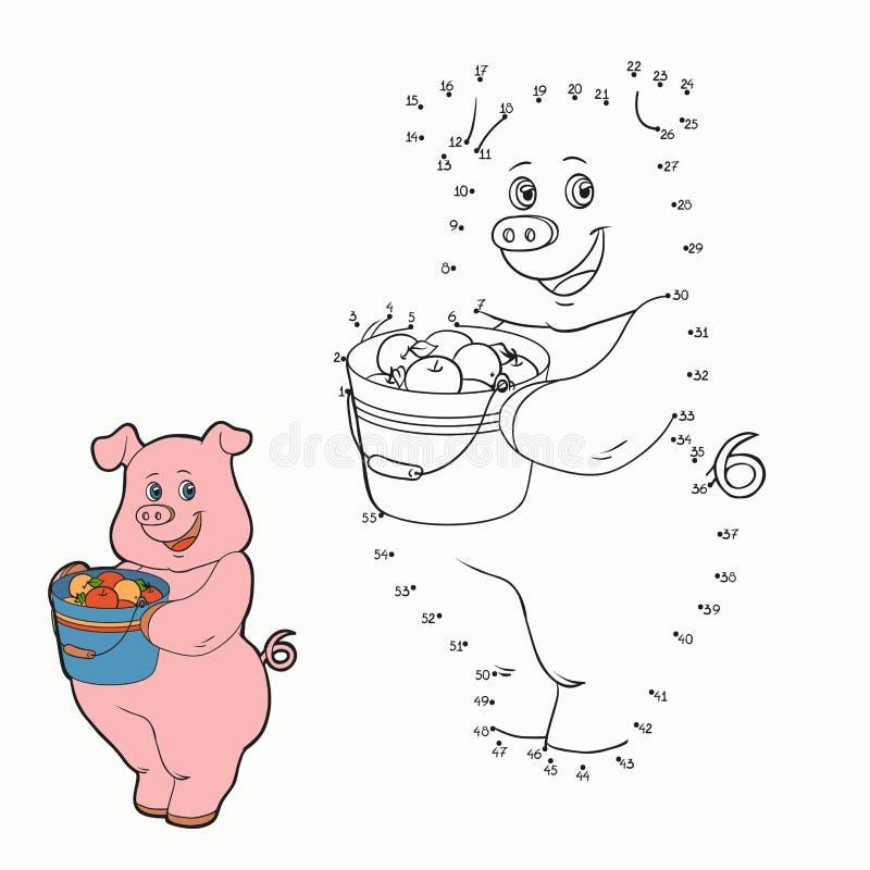 Juego de números (cerdo) ilustración del vector