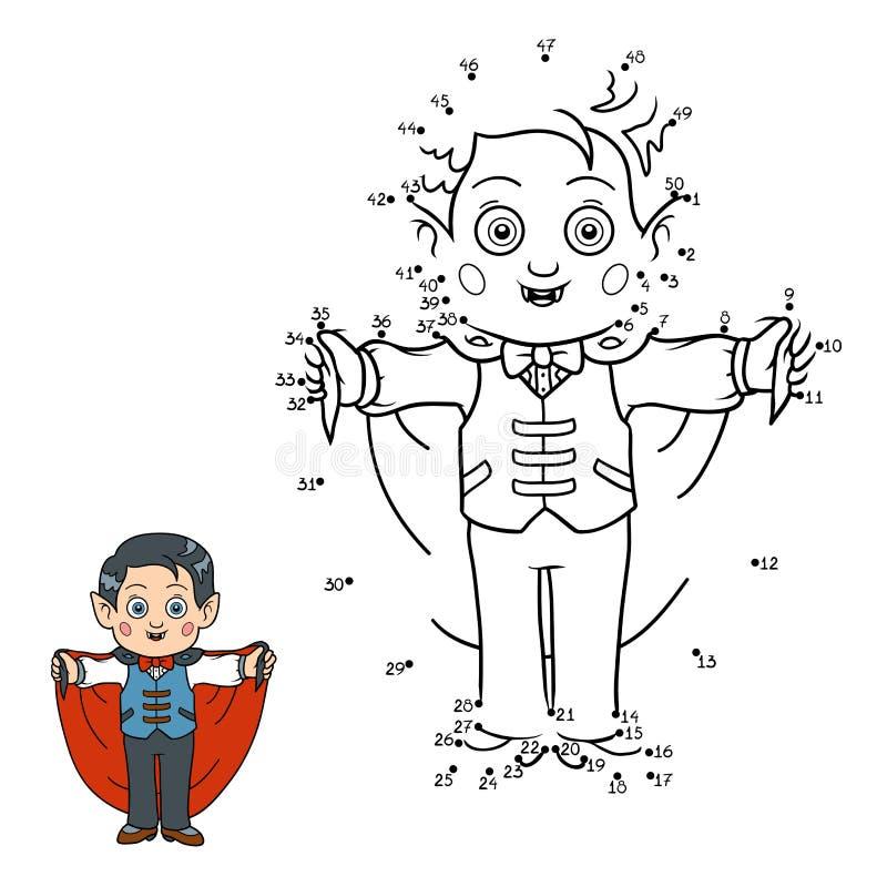 Juego de números para los niños: Caracteres de Halloween (vampiro) libre illustration
