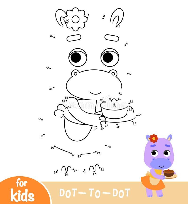 Juego de números, punto de la educación para puntear el juego, hipopótamo y una torta stock de ilustración