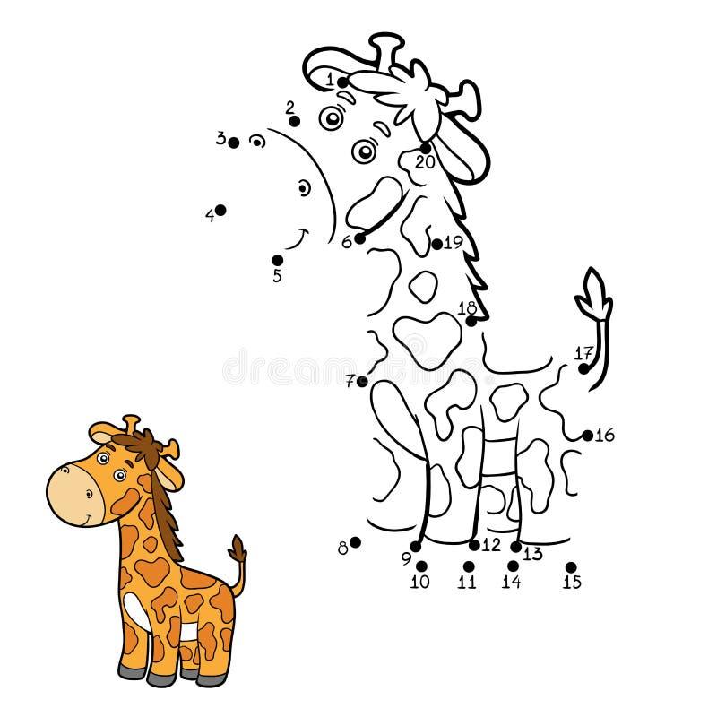 Juego de números, punto a puntear (jirafa) ilustración del vector