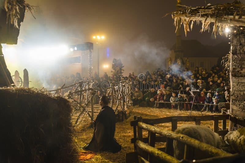 Juego de natividad para la Navidad, Zagreb, Croacia fotos de archivo