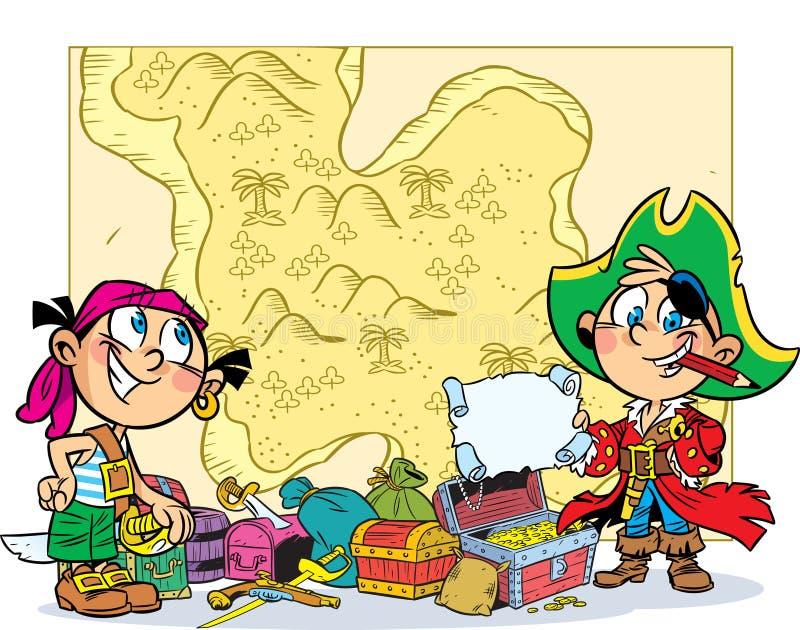 Juego de niños en los piratas stock de ilustración