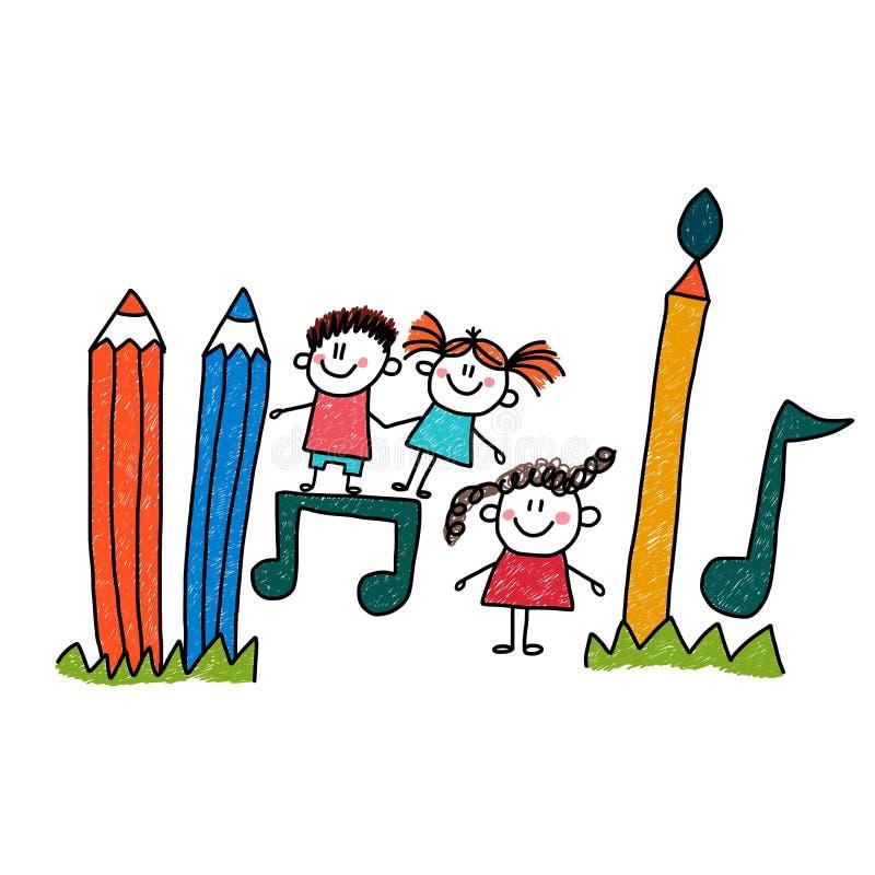 Juego de niños feliz ilustración del vector