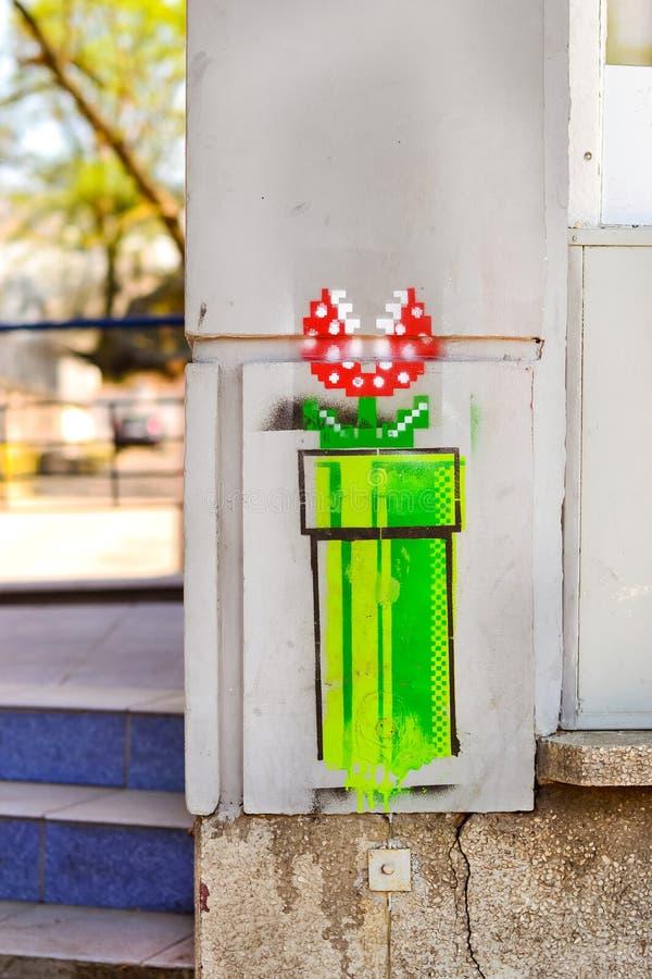 Juego de ordenador Mario Bros estupendo del estilo de la pintada fotografía de archivo libre de regalías