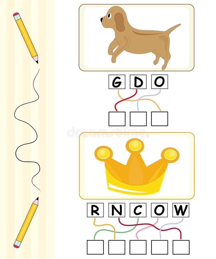 Juego de palabra para los cabritos - perro y corona libre illustration