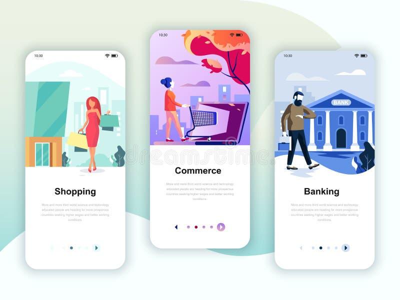 Juego de pantallas de internado kit de interfaz de usuario para Shopping, E-commerce, Banking, plantillas de aplicaciones móviles libre illustration