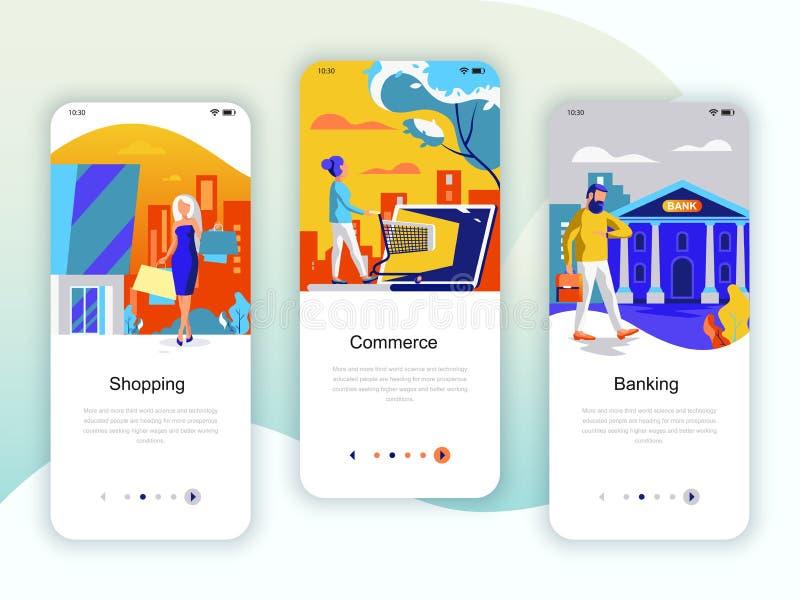 Juego de pantallas de internado kit de interfaz de usuario para Shopping, E-commerce, Banking, plantillas de aplicaciones móviles stock de ilustración