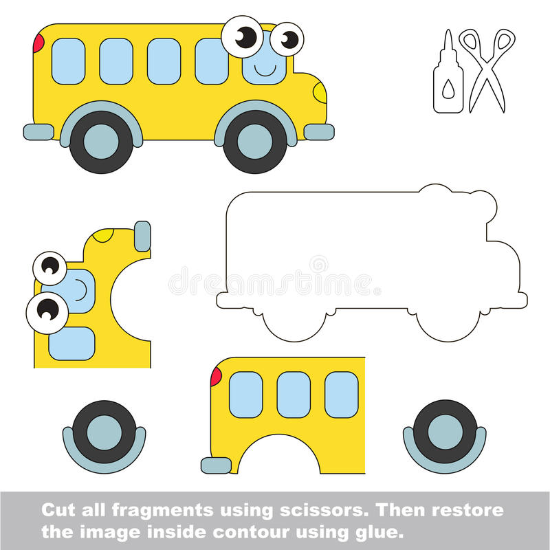 Juego de papel del niño Uso fácil para los niños con el autobús stock de ilustración