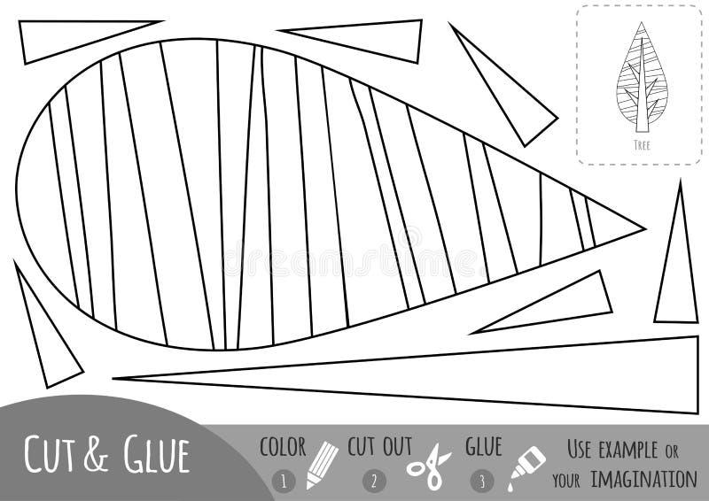 Juego de papel educativo para los niños, árbol Utilice las tijeras y el pegamento para crear la imagen ilustración del vector