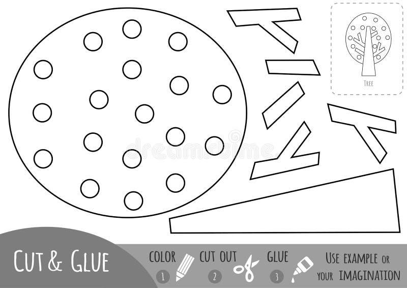Juego de papel educativo para los niños, árbol Utilice las tijeras y el pegamento para crear la imagen libre illustration