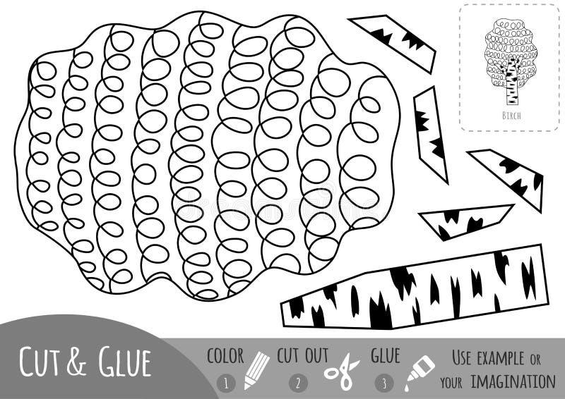 Juego de papel educativo para los niños, abedul Utilice las tijeras y el pegamento para crear la imagen libre illustration