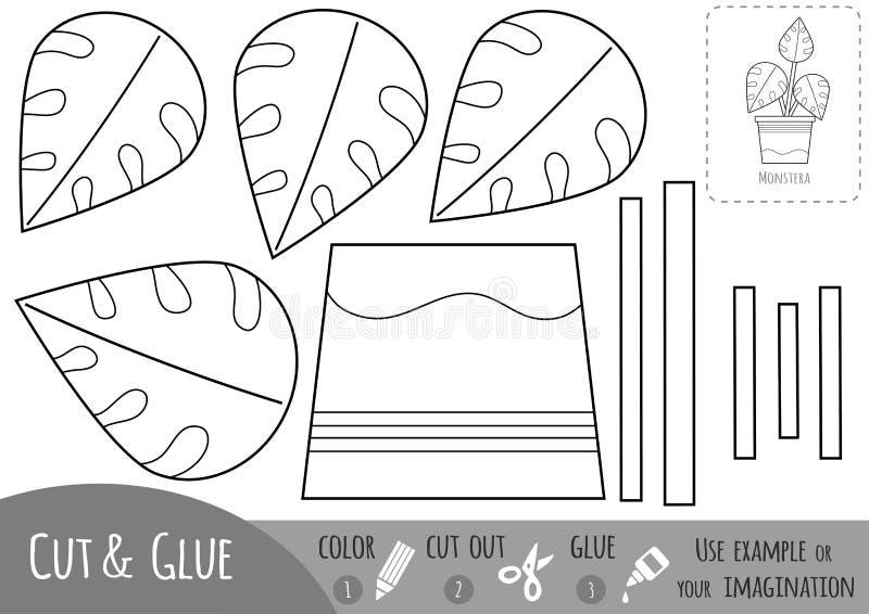 Juego de papel educativo para los niños, Houseplant, Monstera Utilice las tijeras y el pegamento para crear la imagen ilustración del vector