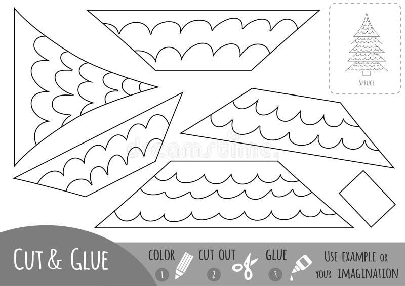 Juego de papel educativo para los niños, picea Utilice las tijeras y el pegamento para crear la imagen libre illustration