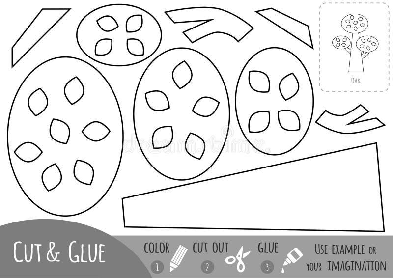 Juego de papel educativo para los niños, roble Utilice las tijeras y el pegamento para crear la imagen ilustración del vector