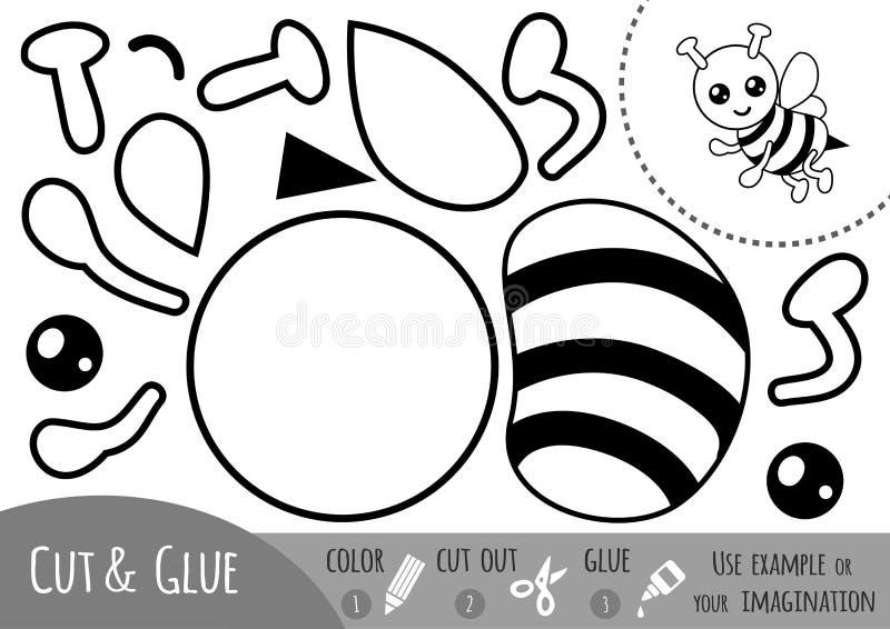 Juego de papel para los niños, abeja de la educación ilustración del vector