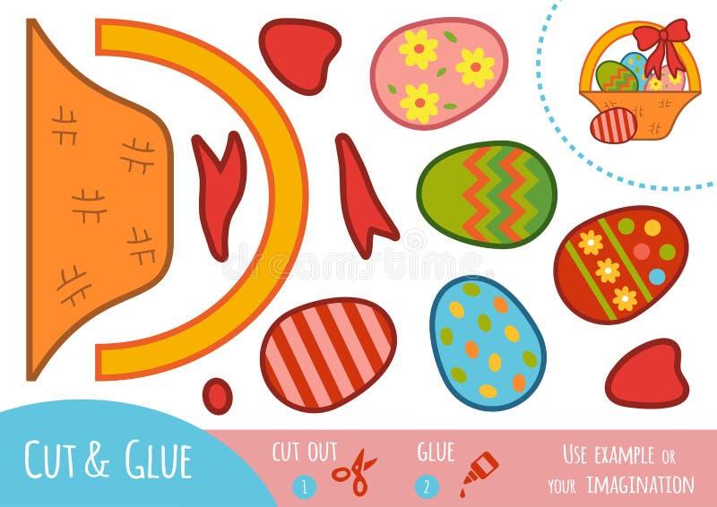 Juego de papel para los niños, cesta de la educación de Pascua ilustración del vector