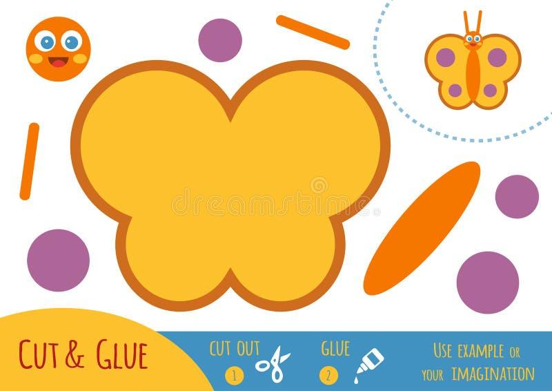 Juego de papel para los niños, mariposa de la educación ilustración del vector