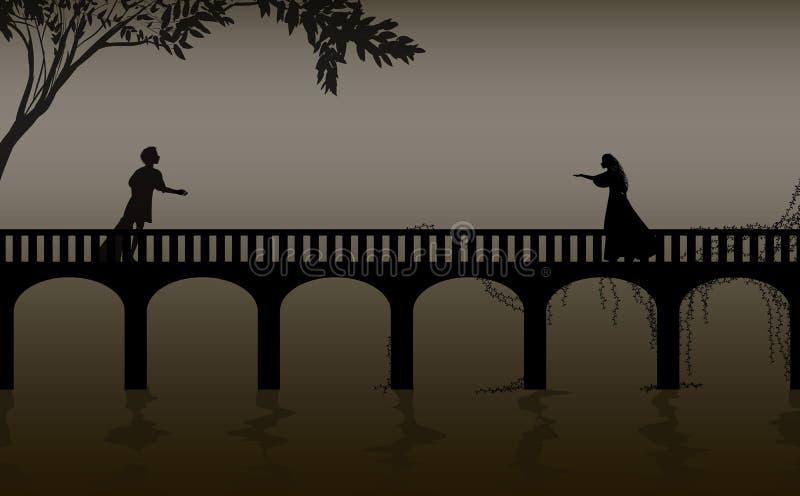 Juego de Romeo y de shakespeare s del juliet, fecha, silueta del puente de Verona, historia de amor, ilustración del vector