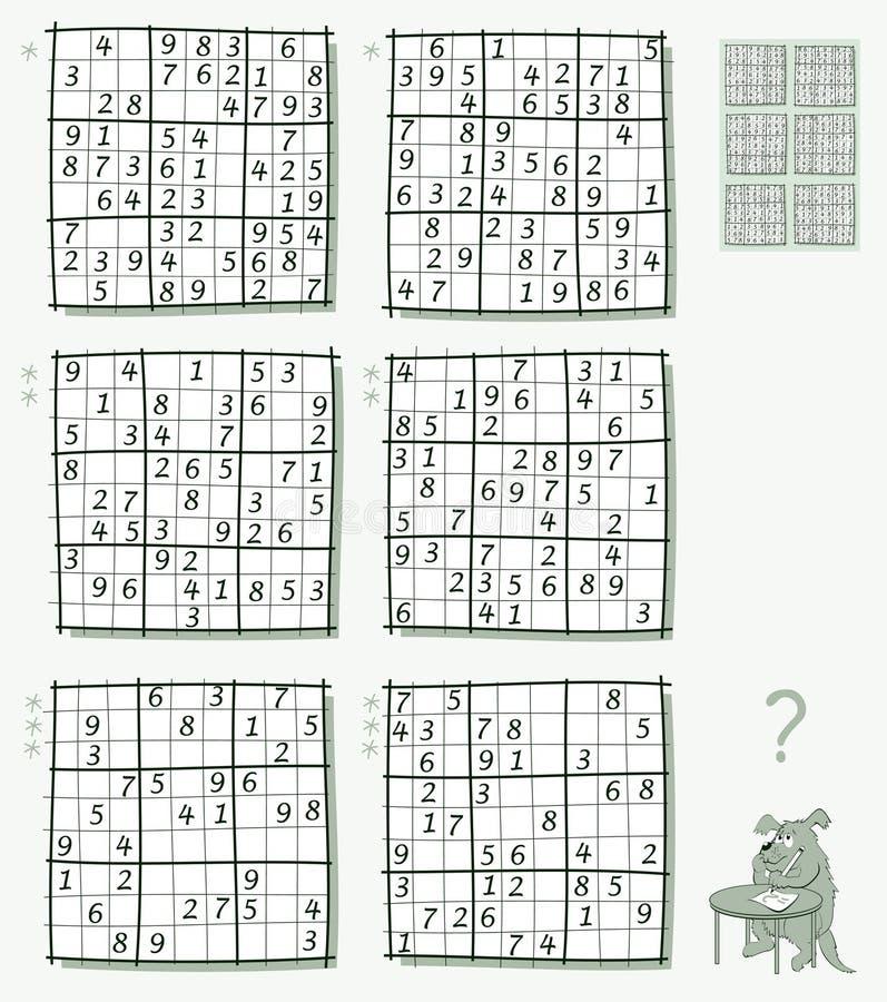 Juego de Sudoku de la lógica Sistema de diversos rompecabezas llanos Hoja de trabajo para los niños y los adultos Imagen del vect libre illustration