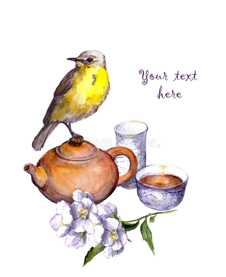 Juego de té, flores y pájaro tradicionales watercolor stock de ilustración