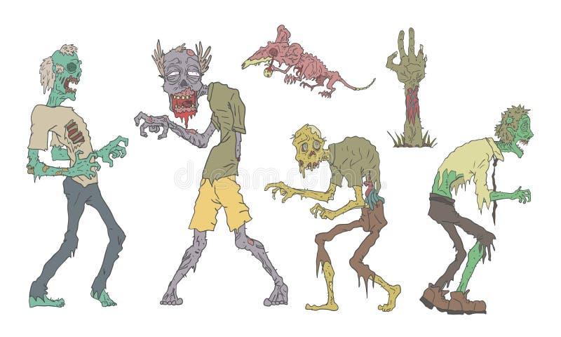Juego de Zombis, Gente y Animales sin Muerte, Ilustración del Vector Zombie Apocalypse stock de ilustración
