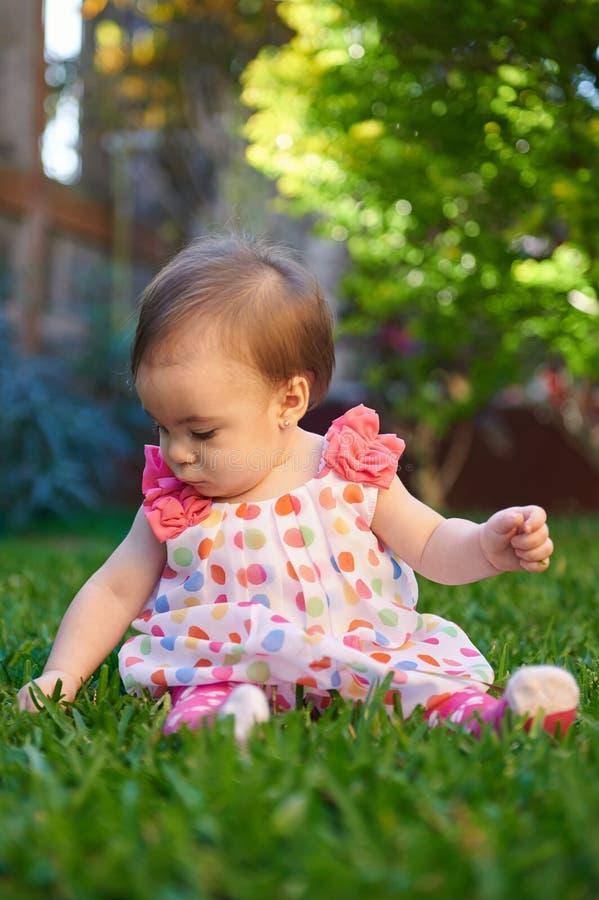 Juego del bebé en hierba del parque fotografía de archivo libre de regalías