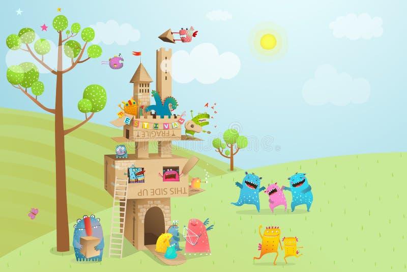 Juego del castillo de la cartulina con paisaje de la naturaleza stock de ilustración
