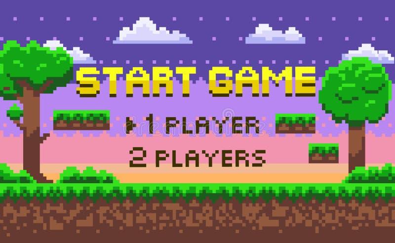 Juego del comienzo del pixel, ubicación verde, vector de la aventura stock de ilustración