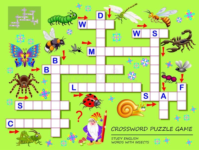 Juego del crucigrama para los niños con los insectos lindos P?gina educativa para los ni?os para las palabras del ingl?s del estu stock de ilustración