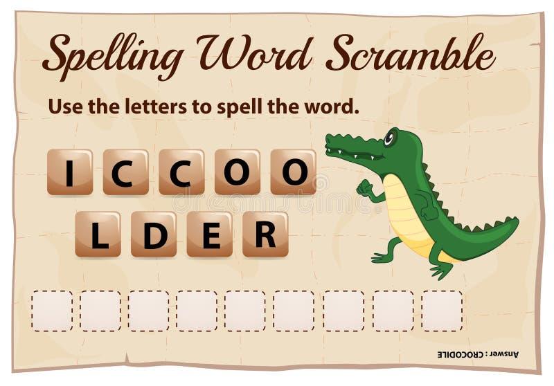 Juego del despegue en tiempo mínimo de la palabra del deletreo para el cocodrilo de la palabra ilustración del vector
