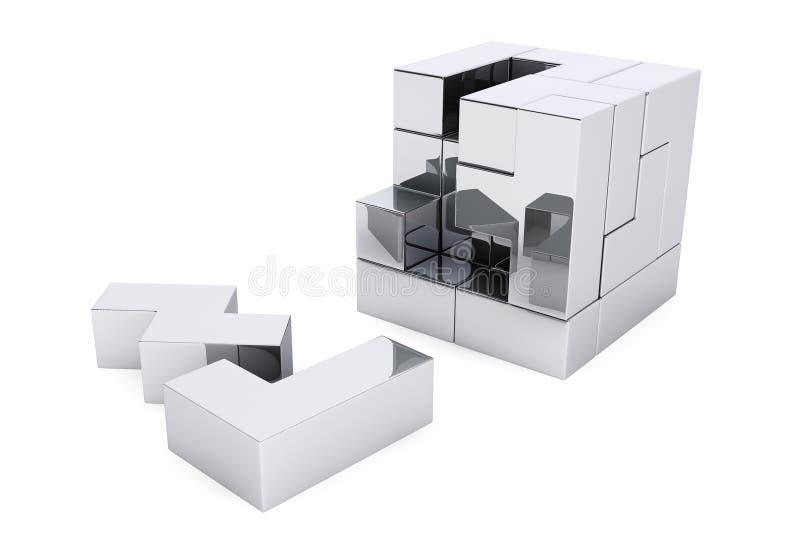 Juego del enigma del cubo de Chrome ilustración del vector