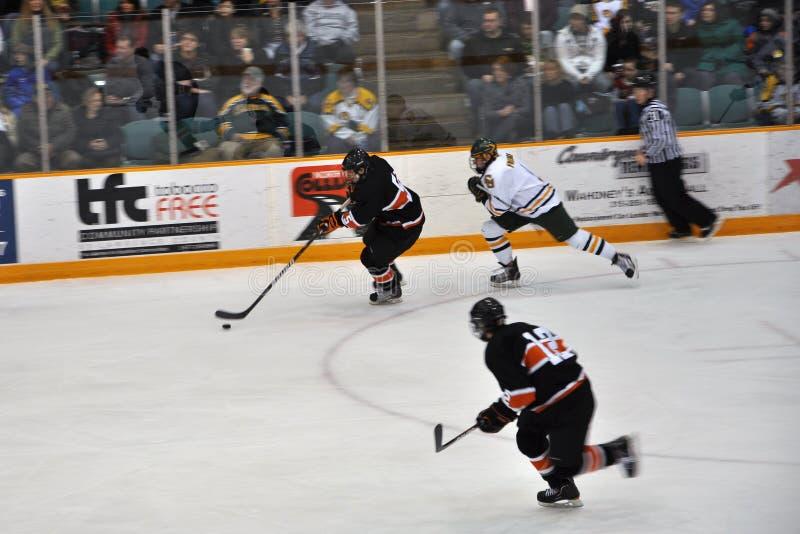 Juego del hockey sobre hielo del NCAA fotos de archivo