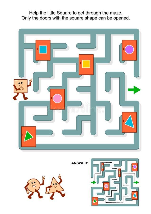 Juego del laberinto con el cuadrado y las puertas marcadas ilustración del vector