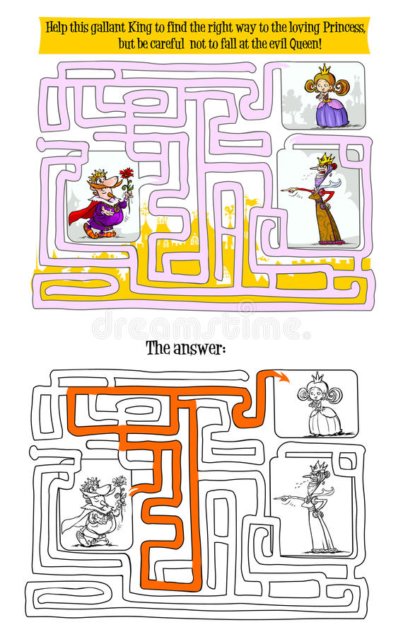 Juego del laberinto con el rey, la reina y la princesa libre illustration