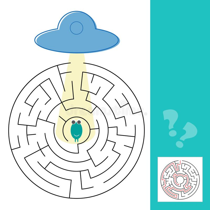 Juego del laberinto del laberinto con la solución Extranjero de la ayuda para encontrar la trayectoria al UFO stock de ilustración