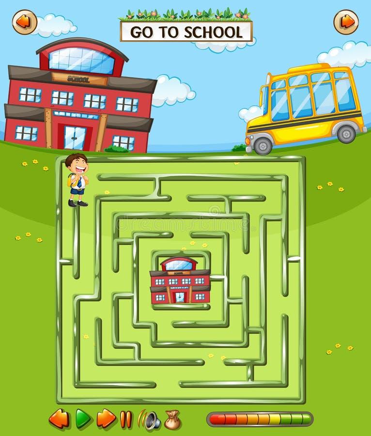 Juego del laberinto de la escuela de los niños libre illustration