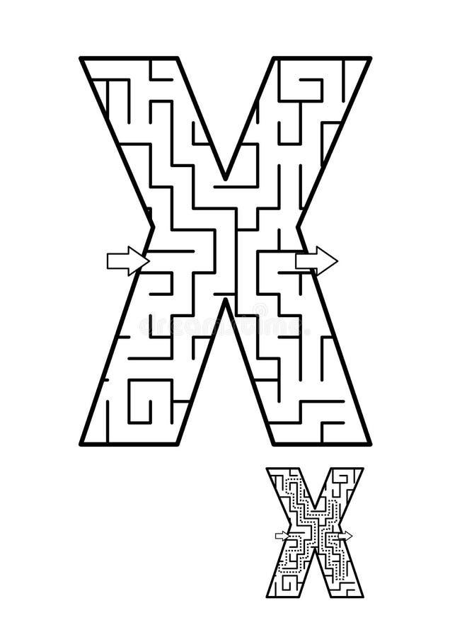 Juego del laberinto de la letra X para los niños stock de ilustración