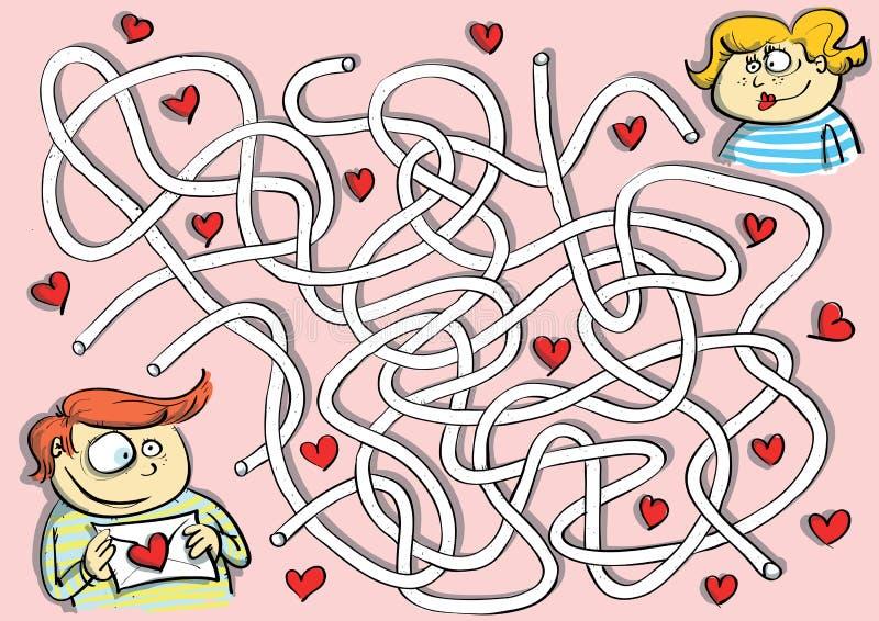 Juego del laberinto de las tarjetas del día de San Valentín stock de ilustración