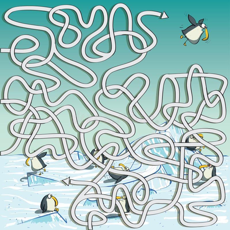 Juego del laberinto de los pingüinos stock de ilustración