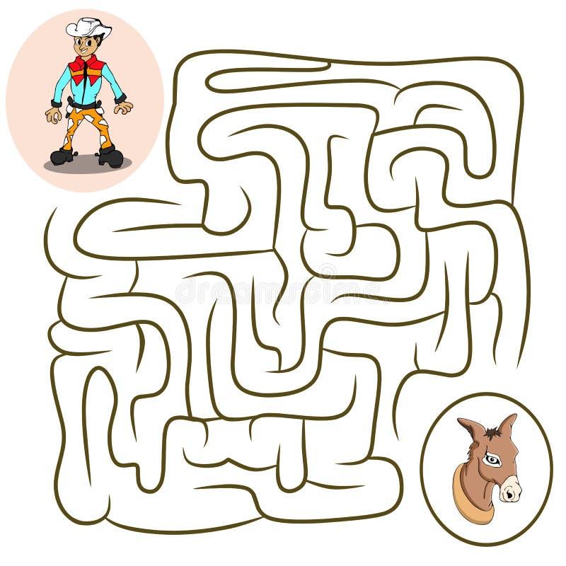 Juego del laberinto: página que colorea del vaquero y del caballo para los niños stock de ilustración