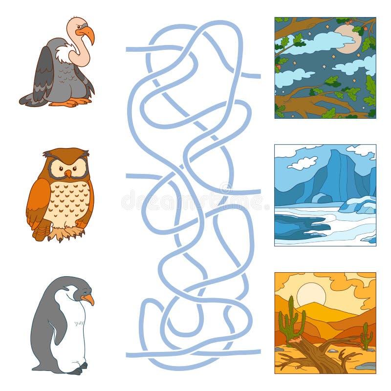 Juego del laberinto (pájaros y hábitat) stock de ilustración
